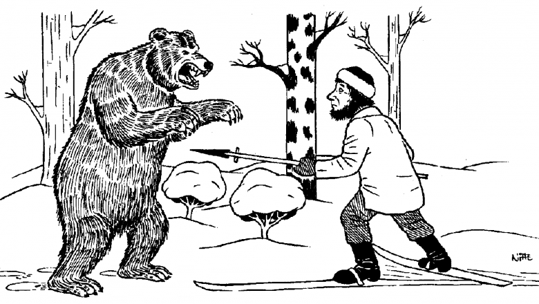 An old drawing of bear hunting in winter. The hunter is on his skis pointing the bear with a spear. The bear is standing on two feet in front of the hunter.